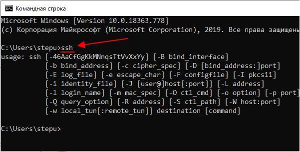 ssh в командной строке Windows 10