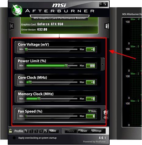 опции в MSI Afterburner