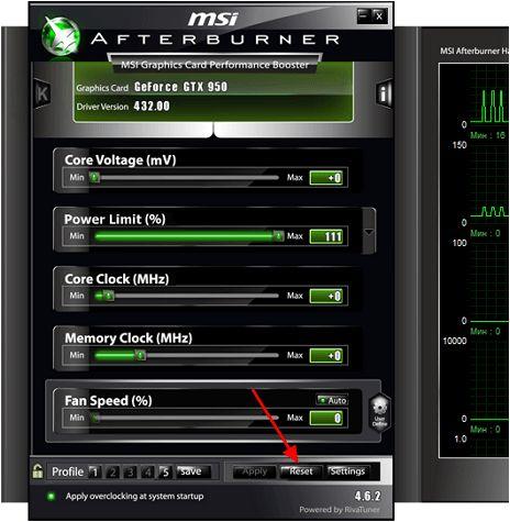 сброс настроек MSI Afterburner