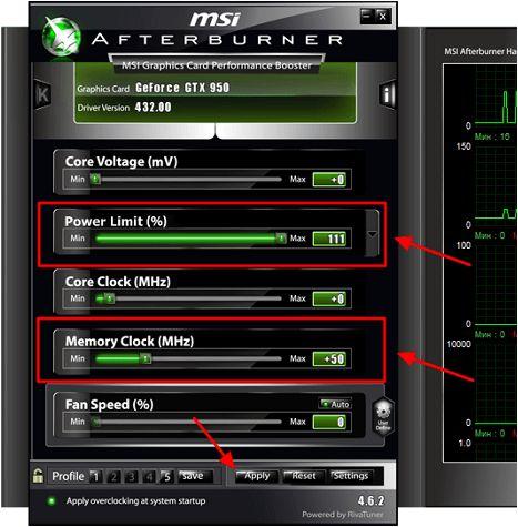 разгон видеопамяти в MSI Afterburner